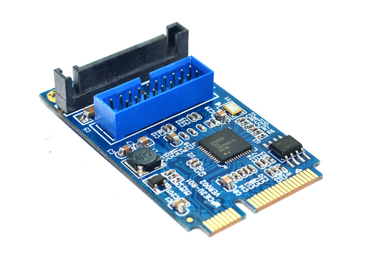 PC Mini PCI E Express to 19Pin 19p USB 3.0 Socket + SATA Powered Motherboard Expansion Adapter Card