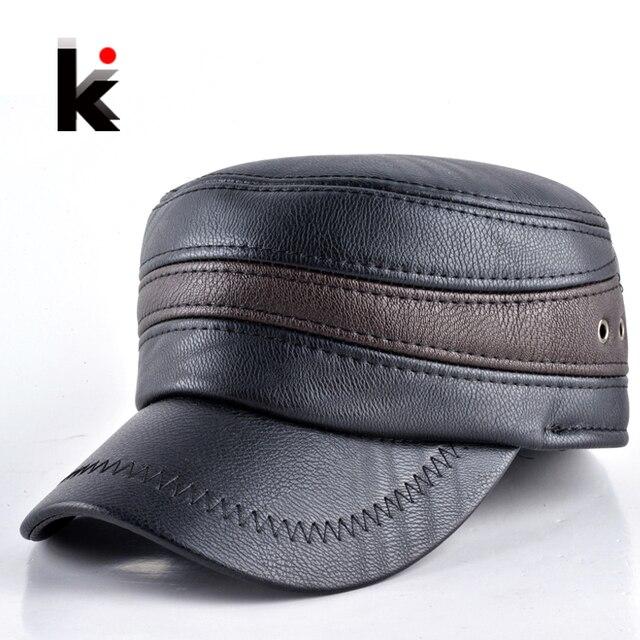 2017 estilo de moda para hombre invierno cálido sombrero militar cap con  orejeras de cuero de e6dd36dac7e