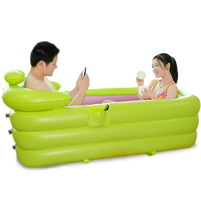 Thicken Inflatable Bathtub For Two People Adult Spa Folding Portable Bathtub  With Cover Extra Large Insulation