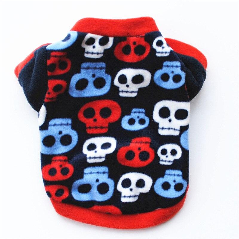 Теплый флисовый лежак для животных Одежда для собак с изображением черепа; Пальто любимчика щенка футболка для собак куртка панель в форме французского бульдога пуловер камуфляжной расцветки для собак, одежда для собак-3
