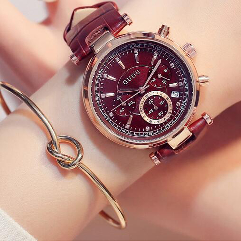 2018 Fashion GUOU Brand Women Luxury Waterproof Six-pin Calendar Leather Quartz Ladies Dress Watches Bracelet Girl Gift Clocks fashion women calendar rose gold quartz watch luxury brand guou six pin retro big dial female multifunction waterproof clock