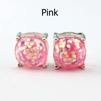 14 Colors Silver Plated Kate Glitter Studs Earrings Square Spade Ear Button 3
