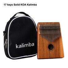 Hotsell 17 Keys Kalimba Solid KOA/Mahogany Wood Mbira Calimba Thumb Finger Piano keys with Bag and accessories free shipping