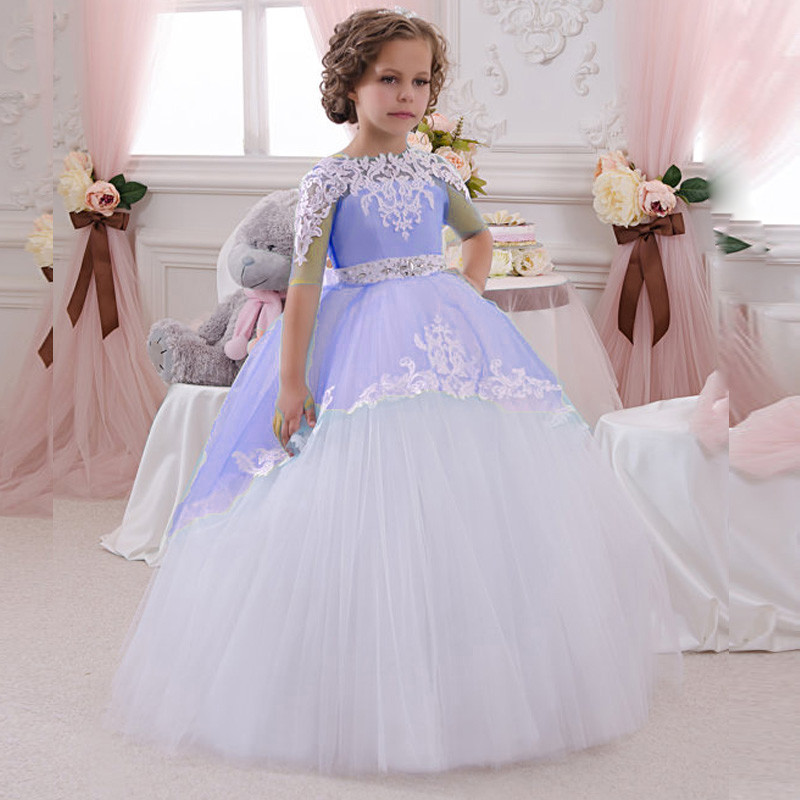 2017 New Flower Girls Dresses For Wedding Gown Ball Gown Kids Beauty Pageant Dresses Ankle-Length Long Mother Daughter Dresses 2017 new flower girls dresses for wedding gown ball gown vintage communion dresses ankle length mother daughter dresses with bow