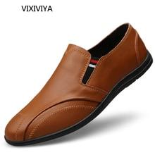 2018 نمط جديد الرجال عارضة الأحذية المتسكعون تنفس الشباب الأحذية الجلدية حقيقية منصة القيادة أحذية للرجال حجم كبير 12