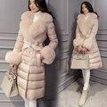 Mujeres Down Jacket Coat Medio Largo de Mujer de Marca de Down Parka con una Piel De Conejo Abrigo de Invierno de Las Mujeres 2016 Nuevo Invierno colección