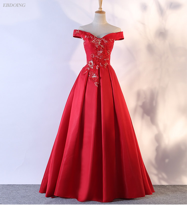 Stunning Red A-line Prom   Dress   Boat Neck Neckline Short Sleeves Vestidos de festa Lace Up   Evening     Dresses   With Lace Appliques