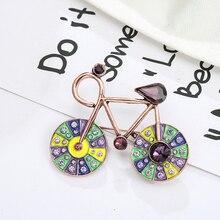 Broches de cristal brillantes para bicicleta con diseño Vintage para mujer, broche de bufanda, alfileres, accesorios de joyería, regalo