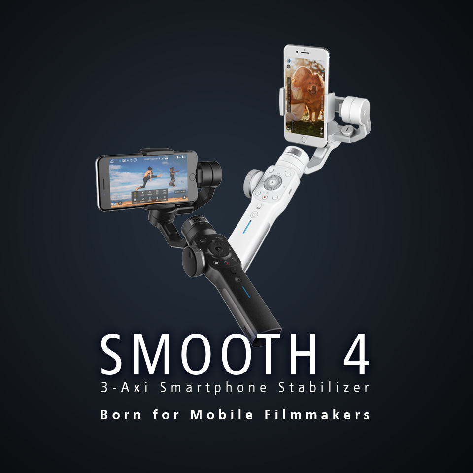 Zhiyun Smooth 4 3-Axis Handheld Smartphone Gimbal Stabilizer for iPhone XS Max XR X 8Plus 8 7P7 Samsung S9 S8 S7 & Action Camera 8