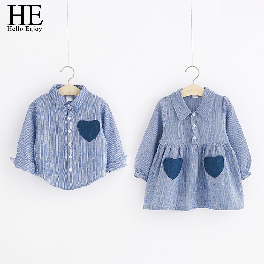 HE Hello Enjoy Family Matching Clothes Big-Sister-Little-Brother Shirts Long Sleeve Stripe Love Pocket Dress Family Look Outfit
