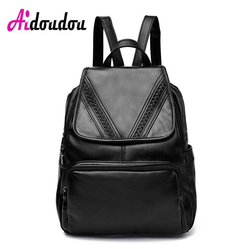 AIDOUDOU Teen Cute School Bags V Shape Knitting Backpack For Girls 2017 Travel Back Bag Sac