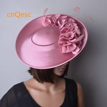 dc86aaff686e2 Blush pink Large Formal dress hat Matte satin fascinator kentucky derby hat  wedding hat Church hat
