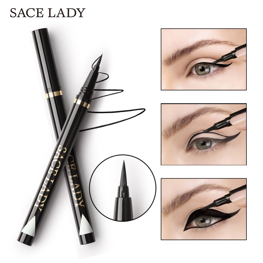 SACE LADY Liquid Eyeliner Waterproof Makeup Black Eye Liner Pencil Long Lasting Make Up Smudge-proof Pen Natural Brand Cosmetic free shipping 3 pp eyeliner liquid empty pipe pointed thin liquid eyeliner colour makeup tools lfrosted purple