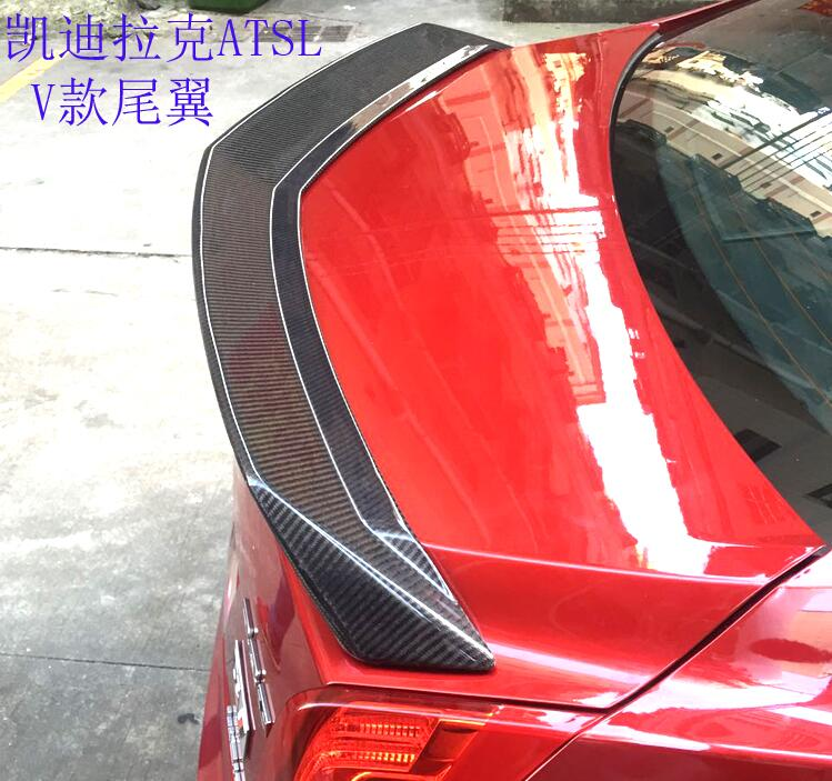 Carbon Fiber CAR REAR WING TRUNK SPOILER FOR 15 17 Cadillac ATS ATS L 2015 2016 2017 V STYLE BY EMS
