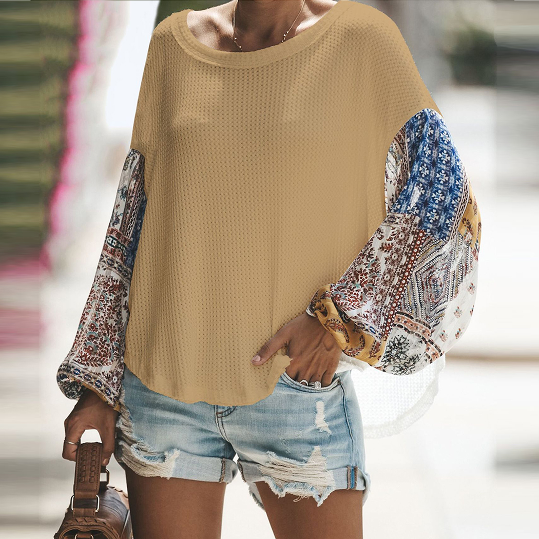 Fashion Women knitting Off Shoulder Patchwork Latern Sleeve Blouse Tops Boho Long Sleeves Casual Beach Loose Shirts Plus Size 1