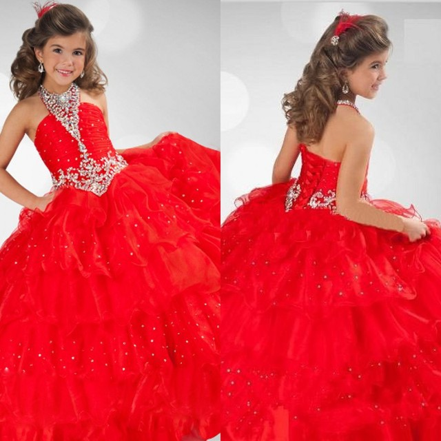 2331630a9cd Ball Gown Hot Red Tulle Halter Beading Flower Girls Dresses Girls Pageant Gowns  Girls Vestido De Daminha d99