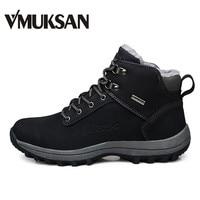 VMUKSAN Brand Men Boots Big Size 39 46 Men Winter Boots Warm Plush Snow Boots Mens