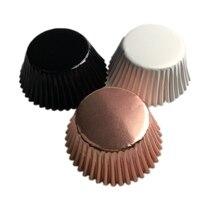 100 шт., золотые, серебряные, красные, розовые, зеленые, синие фольги, бумажные подставки для кексов, чистый цвет, чашки, обертки, торт, чашки для выпечки