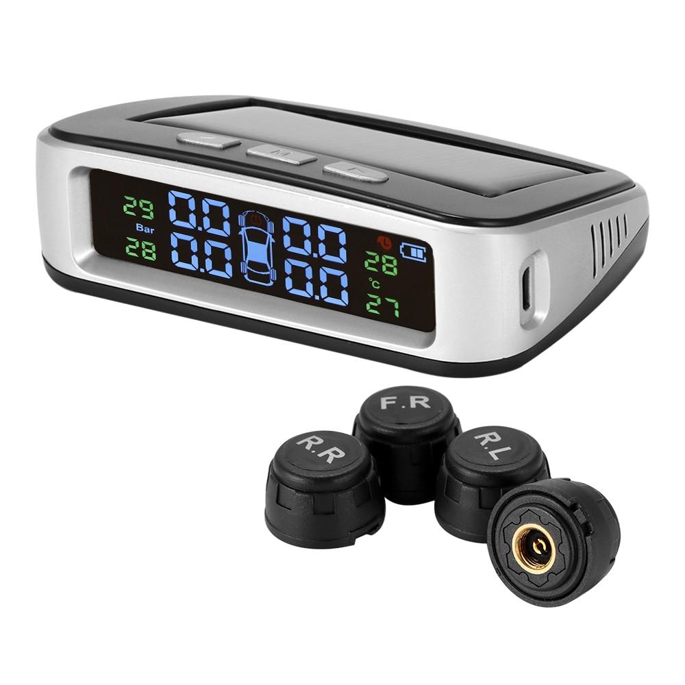Wireless Car Tire Pressure Alarm Monitor System TPMS LCD Display Solar Powered Car 4 External Sensor