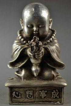 Miao Silver Carve monk Little Buddha Sincerity Pray Wishes Come True Lucky Big Statue