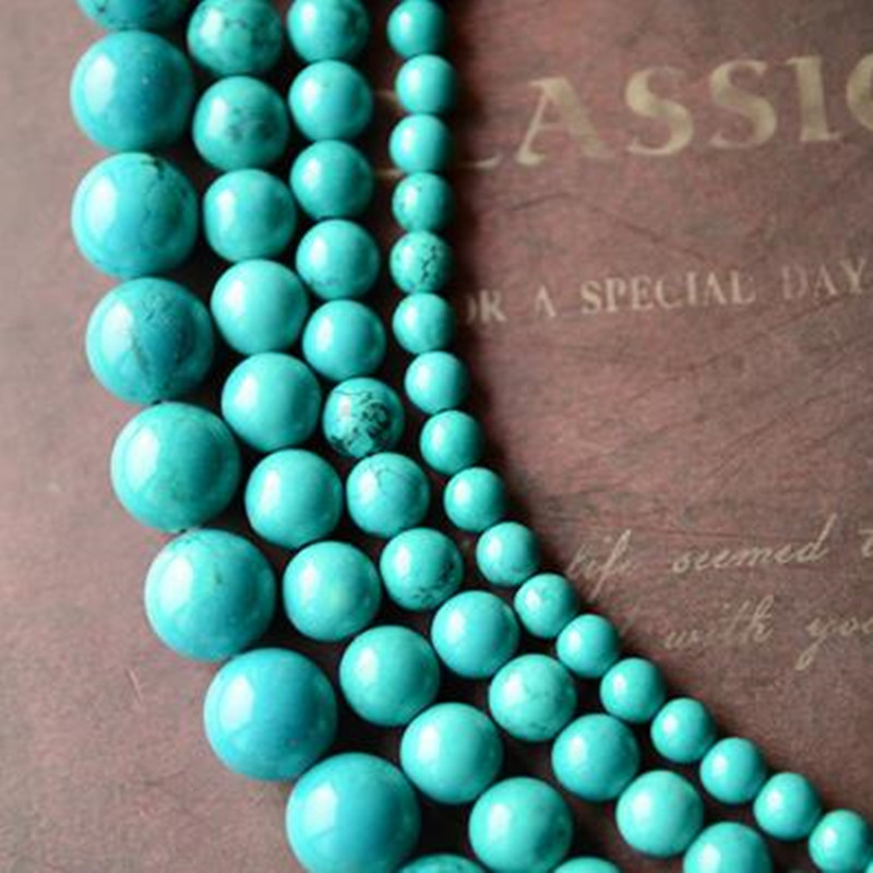 Glossy Gemstones Round Blue Turquoise Stones Loose Beads 4MM 6MM 8MM 10MM 12MM
