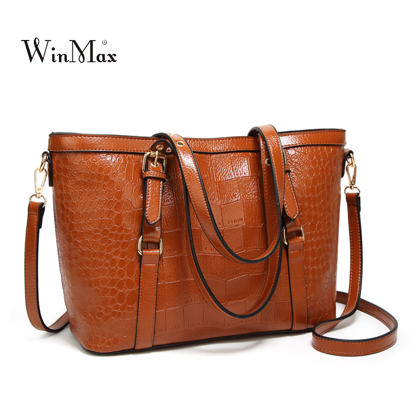 New Women Bag Crocodile Leather Handbag Luxury Brand Large Tote Bag Ladies Handbags Shoulder Messenger Bags for Women 2018 Bolsa aelicy 3 sets women handbag shoulder bags tote purse leather ladies brand messenger luxury handbags women designer shoulder bag