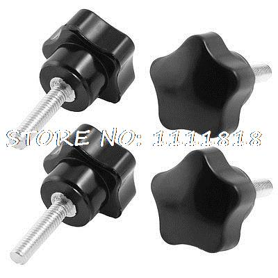 30mm Star Head Dia M6 x 25mm Male Thread Screw On Type Clamping Knob 4Pcs 5x 46mm high 25mm thread length screw on type star shape knob