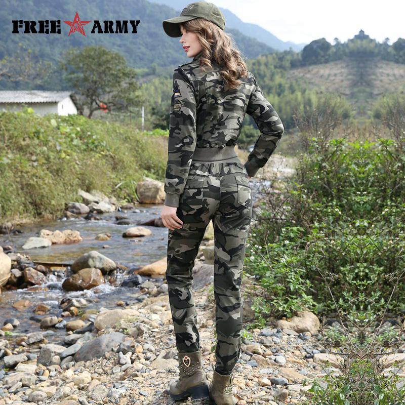 Freearmy Brand Tracksuit For Women Autumn Camouflage Two Piece Set Pants Short Jacket Slim Women s