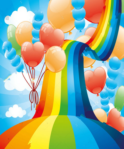 rainbow cloud balloons backdrop polyester or Vinyl cloth High quality Computer print wall Backgrounds