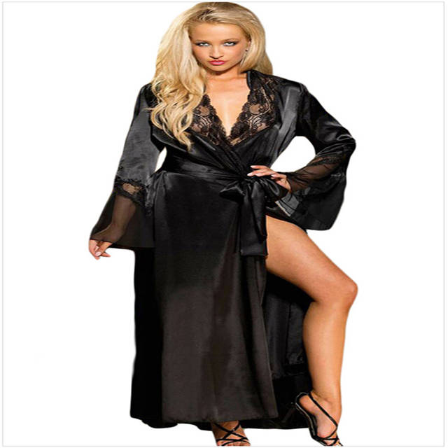 f4893b0751 Sexy Lace Chiffon V neck Long Maxi Belt Night Dress Robe Gown Women  Nightgown Sleepwear Lingerie