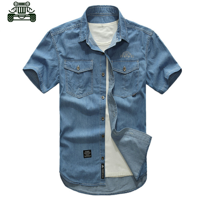 Alta qualidade militar homens camisa jeans de manga curta, Algodão casual camisa Plus Size roupas