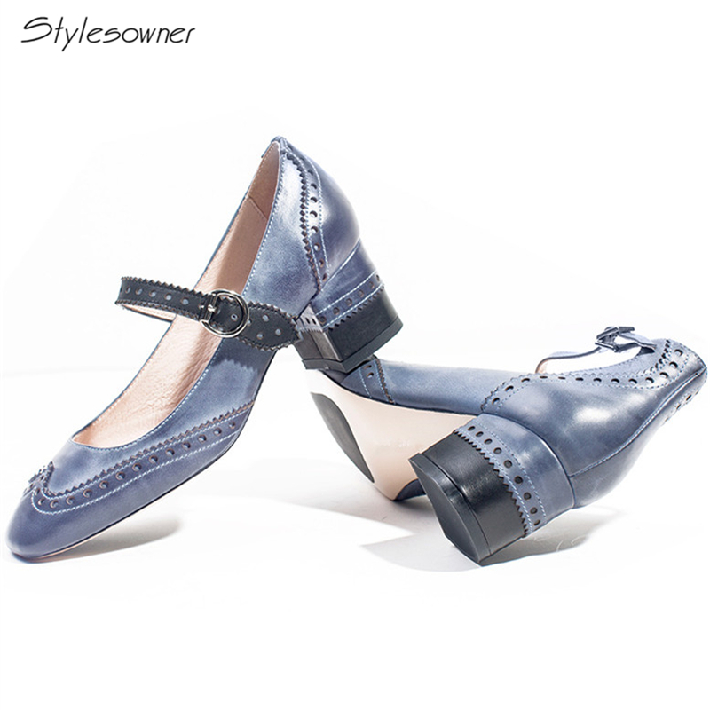 Stylesowner 2018 Classic Retro Carve Strap Heels Pumps Vintage Brogue Casual Mary Janes Shoes Genuine Leather Chunky Heels PumpsStylesowner 2018 Classic Retro Carve Strap Heels Pumps Vintage Brogue Casual Mary Janes Shoes Genuine Leather Chunky Heels Pumps