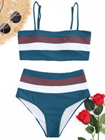 ZAFUL 2018 Women Bikini Swimwear Striped Padded High Waisted Bikini Soft Swim Bottoms Bikini Chinlon Elastic Top Briefs Bikini