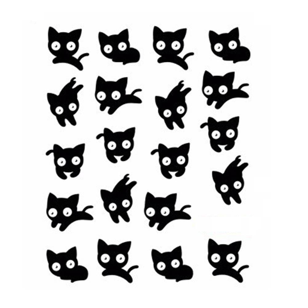 Watermerk Nagel Stickers Leuke Zwarte Kat Nail Art Water Transfer ...