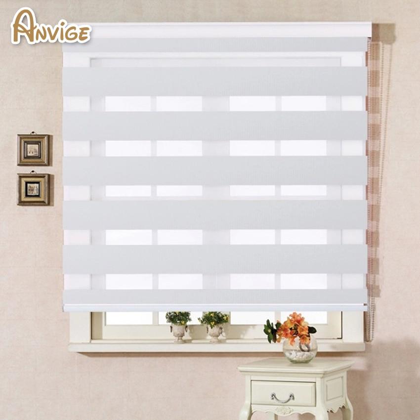 100 Polyester Translucent Modern White Color Zebra Blinds