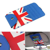 BBQ FUKA Car Sun Visor Glasses Storage Bag Organize Car Card Package Holder Clip Coloured British