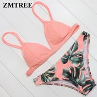 ZMTREE Brand Bikini 2017 Set Women Swimwear Leaf Printed Swimsuit Top Quality Bathing Suit Biquini Femme