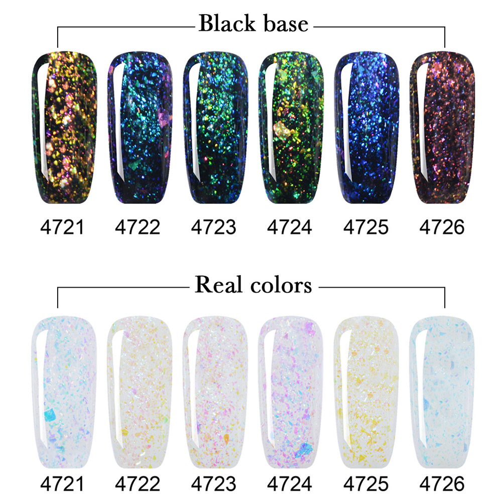 12 Bottle Set Kit Lvmay Brands Galaxy Shadow Glitter Color Gel Nails ...