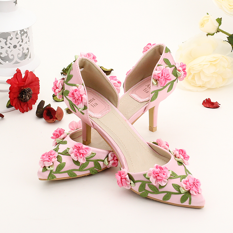 Pink heels for wedding awesome new arrived gorgeous pink ab crystal latest pink satin small flower party shoes pointed toe thin heel wedding shoe summer sandals cm heel hot sale with pink heels for wedding mightylinksfo