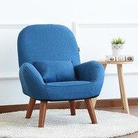 Japon Düşük Koltuk Koltuk Döşeme Kumaş Ahşap Bacaklar Oturma Odası Mobilya Modern Dekoratif Accent Kol Sandalye Dinlenmek Tasarım