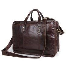 Coffee Color Vintage Genuine Leather Men Messenger Bags Cow Leather Man Briefcase Portfolio #M7345