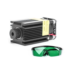 2.5W Laser Head Blue Light Module Diode For CNC DIY Engraving Cutting Machine 450nm Focus Power DC 12V with Protective Glasses blue laser head engraving module wood marking diode with heat dissipation fan glasses circuit board for engraver mayitr