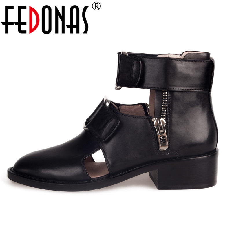 FEDONAS Punk Black Women Ankle Boots Cow Leather Autumn New Party Shoes Woman High Heels Short Motorcycle Boots Ladies PumpsFEDONAS Punk Black Women Ankle Boots Cow Leather Autumn New Party Shoes Woman High Heels Short Motorcycle Boots Ladies Pumps