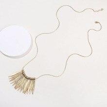 Fashion Long Snake Chain Necklace Zinc Alloy Metal Fan Bib Spike Statement Necklaces for Women