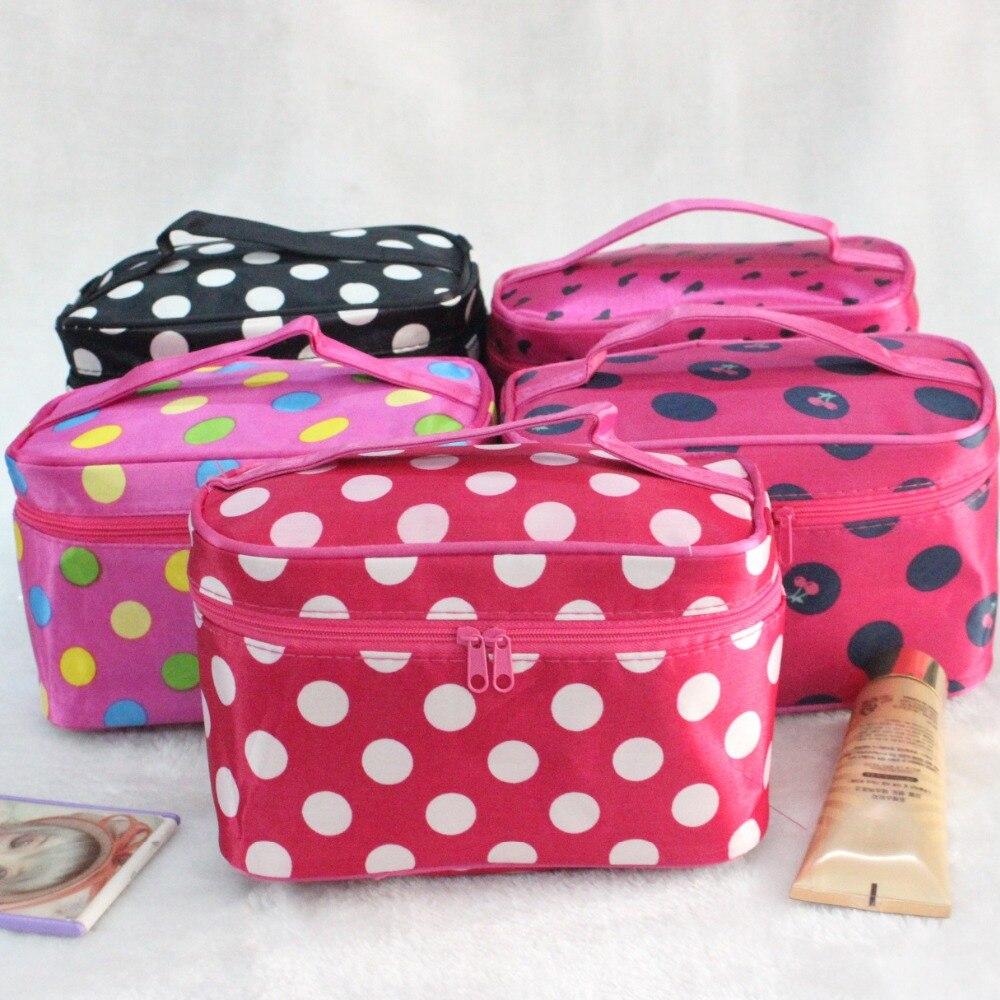 2c3657d07ae8 Women s Fashion Cosmetic Bag Big Travel Lingerie Bra Underwear Dot Bags  Cosmetic Makeup Toiletry Storage Organizer Case