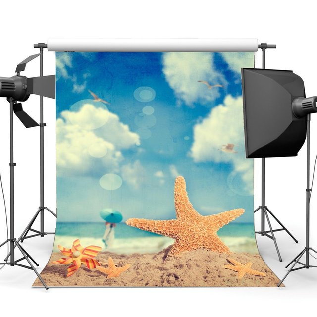 Sand Beach Backdrop Seaside Starfish Pinwheel Birds Blue Sky White Cloud Bokeh Glitter Girls Lover Wedding