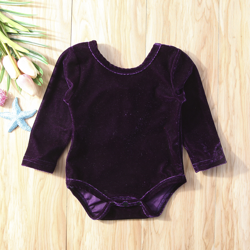 Bodysuits Emmababy Newborn Baby Girls Lovely Flare Sleeve Velvet Solid Color Bodysuit Jumpsuit Outfits Set Clothes Bodysuits & One-pieces