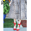 DayLook 11.11 Big Sale Pleated Skirt Animal Leopard Print Midi A-line High Waist Skirts Skater Womens Silky Feel Plus Size Saia