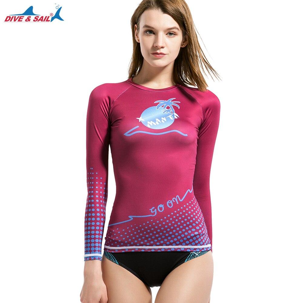 2e738b2d87 Vela buceo Rash Guard Mujeres Protección UV UPF 50 + traje de Baño de Manga  Larga Tee camisa nueva llegada Camisa de Surf Buceo en Rash Guard de  Deportes y ...