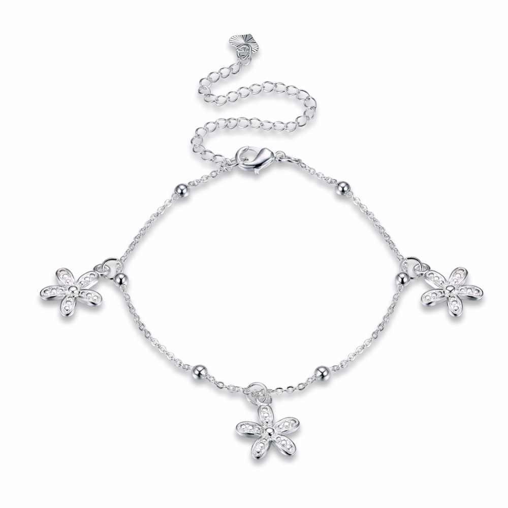 送料無料 925 刻印シルバーメッキ女性は宝石デイジーの花のチャームアンクレット joyas · デ · プラタギフト用